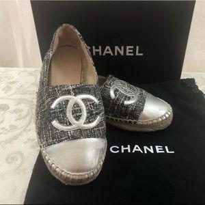🆕 Chanel CC Tweed Metallic Espadrilles
